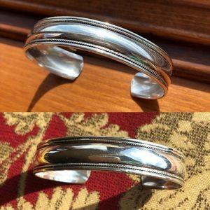 Vintage Sterling Domed & Detailed Cuff Bracelet